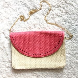 Escada straw pink and tan watermelon look bag